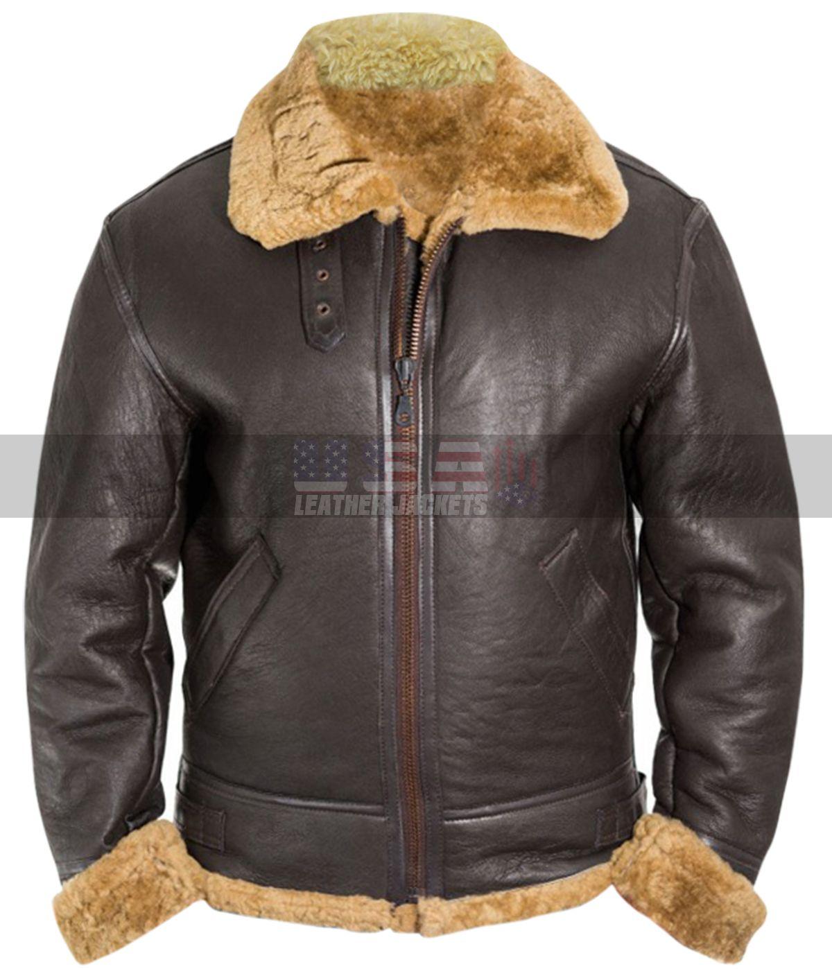 Tom Hardy Dunkirk Farrier Shearling Sheepskin Brown Bomber Leather Jacket Leather Jacket Leather Bomber Jacket Jackets [ 1398 x 1200 Pixel ]