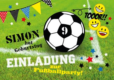 Für kleine Fußballer: Fröhliche Einladung zum 9. Kindergeburtstag mit Fußball und Smileys