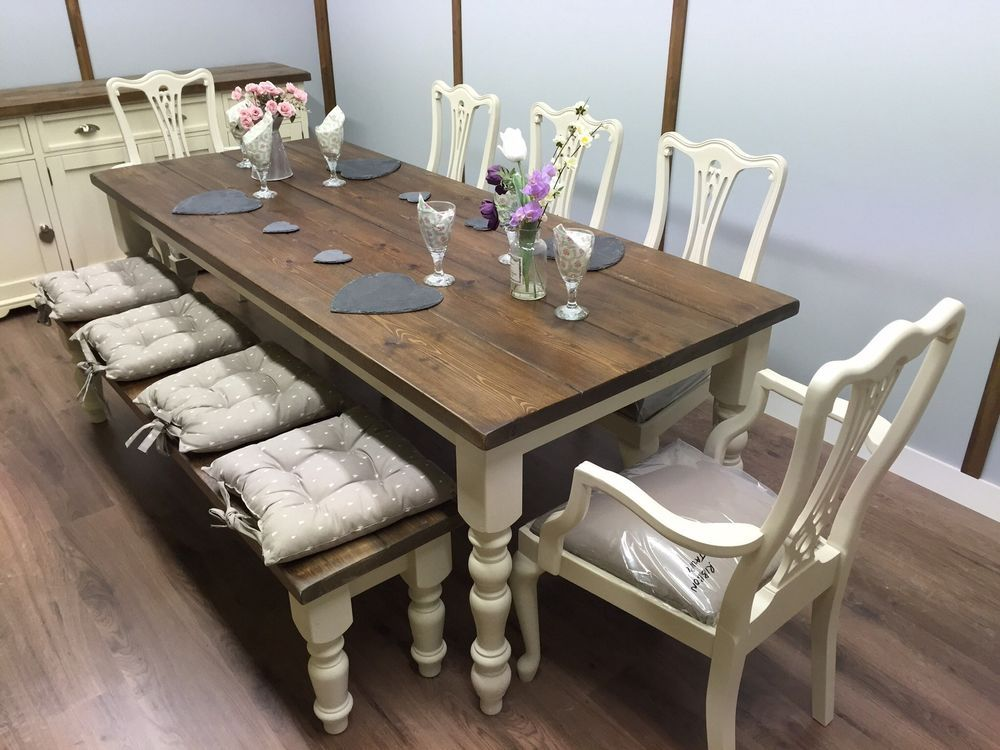 Large 7ft farmhouse table and chairs bench shabby chic oak for Oak farmhouse kitchen table and chairs