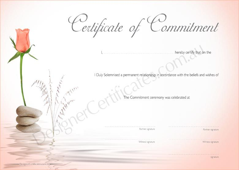 Commitment Certificates - Apricot Rose. Only A… | Commitment ...