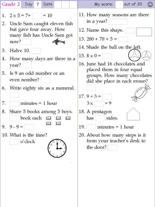 Mental Math Grade 2 Day 7 Mental Math First Grade Math Worksheets Mental Maths Worksheets Mental Math