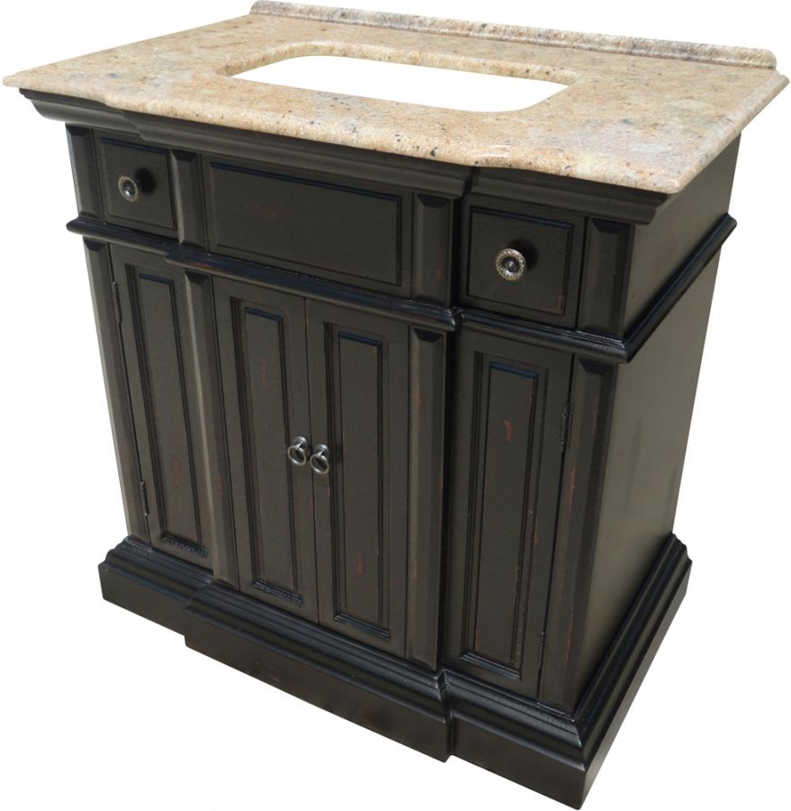 36 Inch Single Sink Bathroom Vanity with a Distressed ...