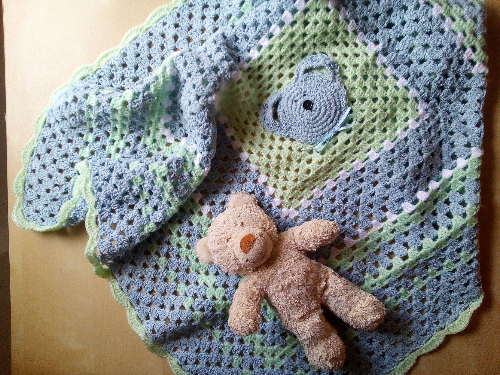 copertina lana orsetto baby neonato uncinetto azzurro verde e bianco -  regalo nascita copertina culla carrozzina pura lana merino € 45 bce10e2582bb