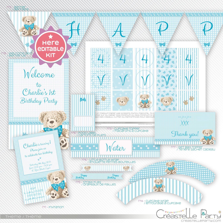 Teddy Bear, Blue editable printable party decoration