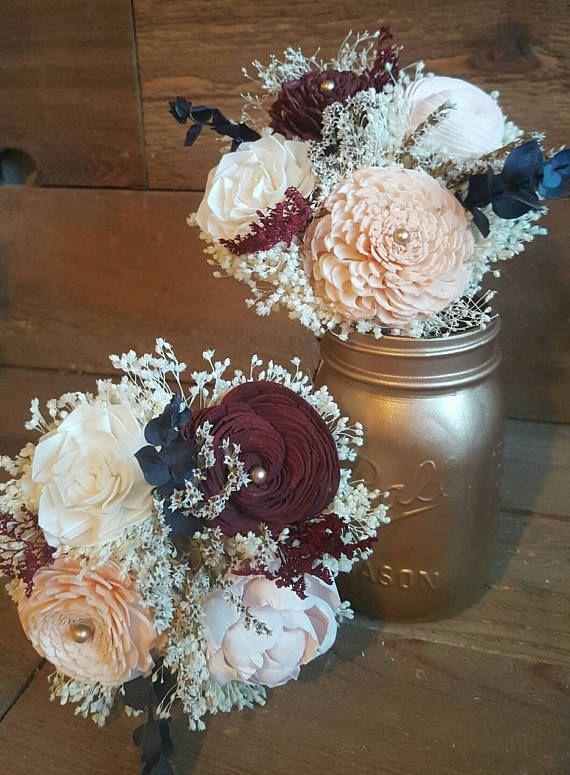 Burgundy Blush Peach Navy Blue and Ivory Garden Sola ...