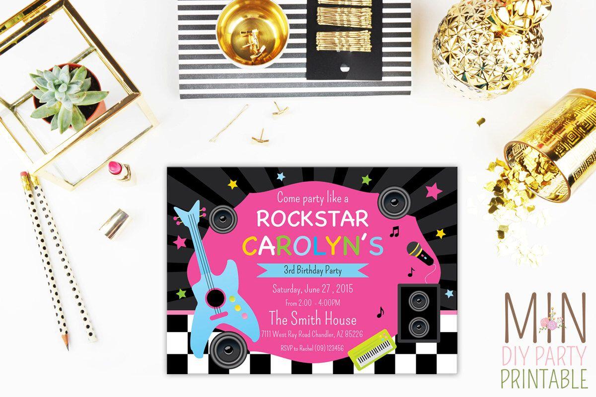 Any Age Birthday Invitation Rock facsimile cover sheet template ...