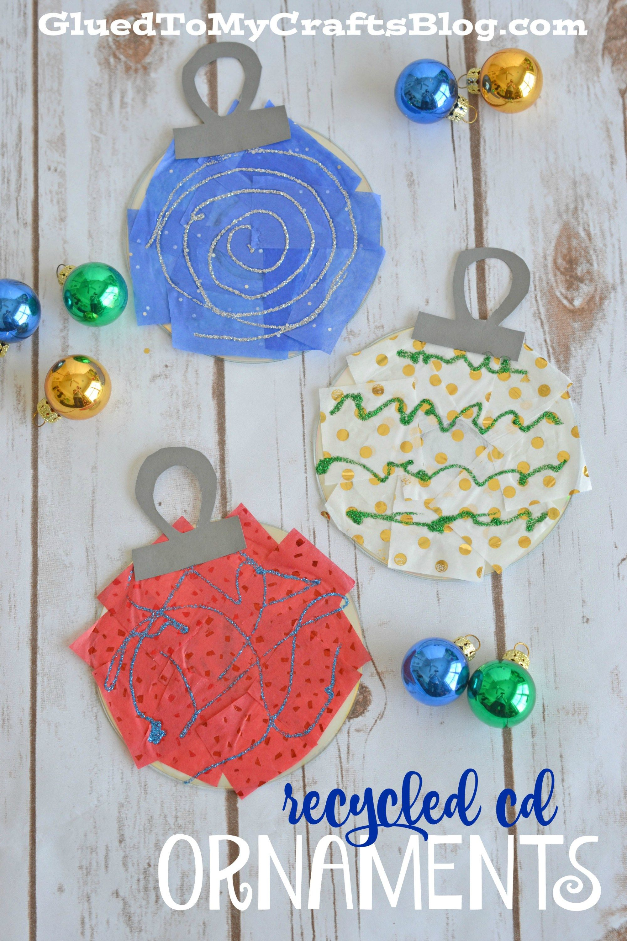 Recycled CD Ornaments - Kid Craft | Ornament, Craft and Christmas ...