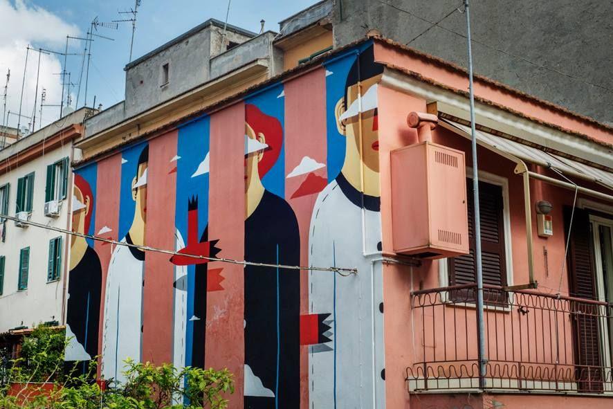 "Agostino Iacurci - Italian Street Artist - ""Clear sky on the pink house"" -Roma (IT) - 03/2015 - |\*/| #agostinoiacurci #streetart"