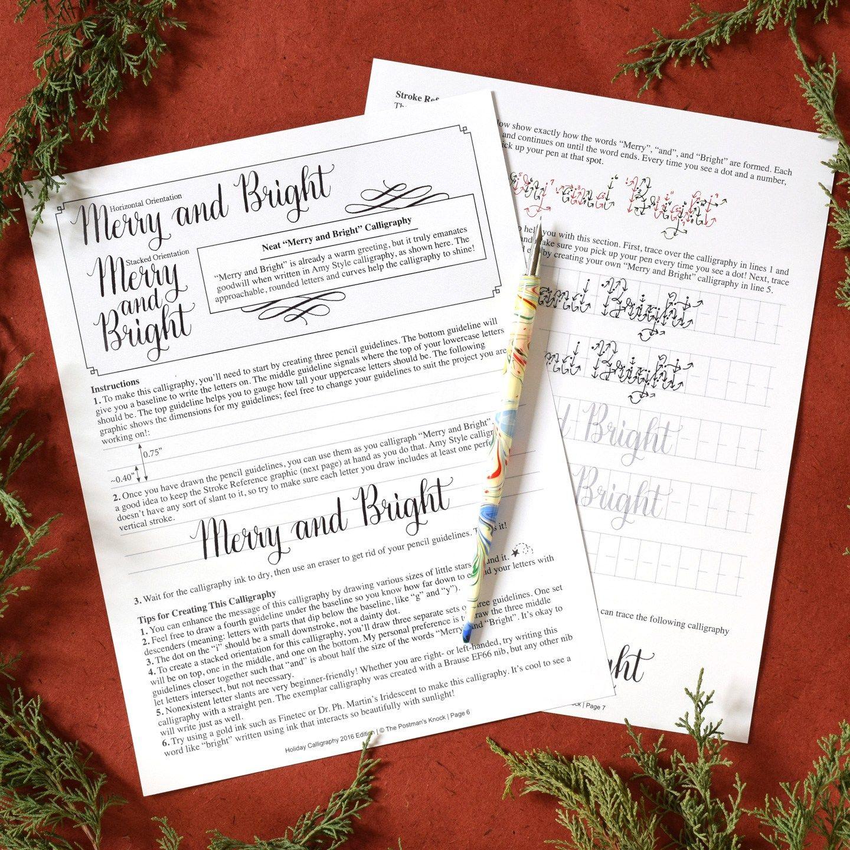 Tpk Holiday Calligraphy Worksheet Edition