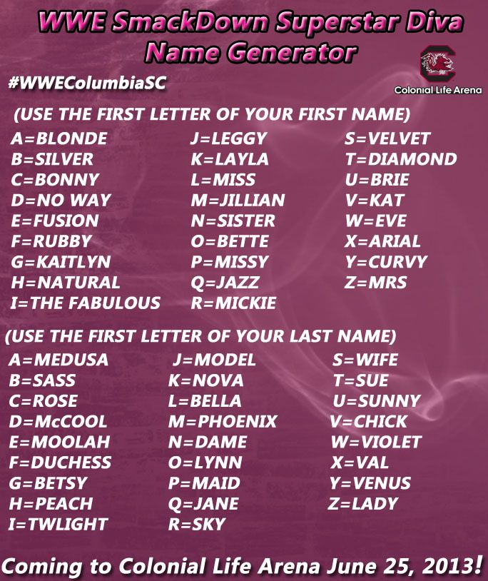 Want To Win 4 Free Tickets To Wwe Smackdown At Colonial Life Arena June 25 Use Our Name Generator And Comment Below With Your Name Generator Funny Names Names