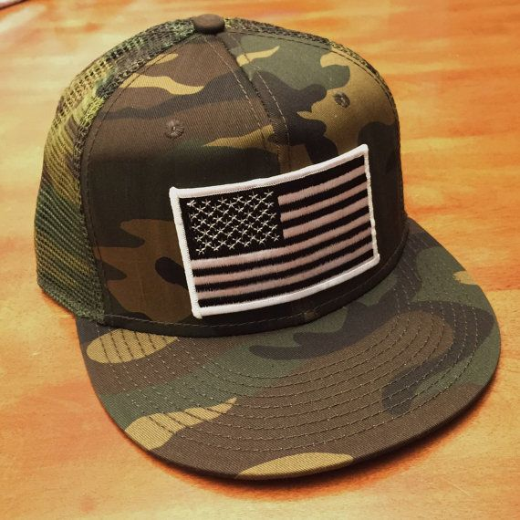 Black and White AMERICAN FLAG CAMO Trucker by RogueCitizenApparel ... 4c945d17044