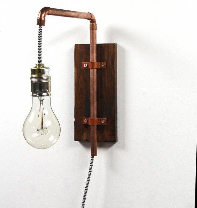 Wandlampe im industriedesign aus kupfer hanging lamp made of wood and copper industrial - Wandlampe industriedesign ...