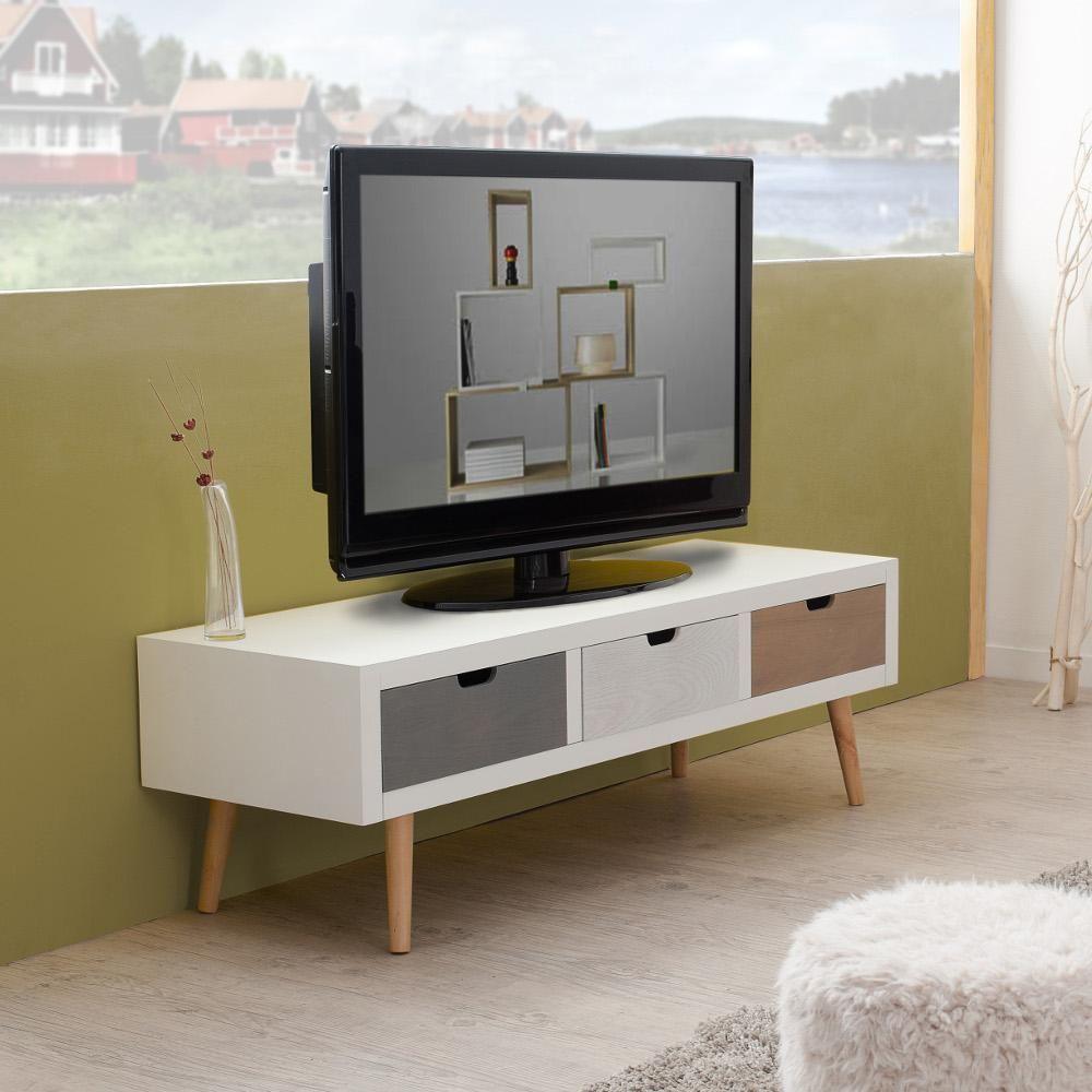 Meuble T L Avec 3 Tiroirs En Mdf Blanc Et Pin 120x40xh38 5cm Enzi  # Meuble Tv Pied Bois