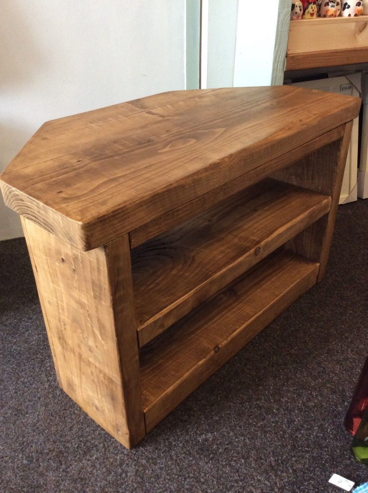 This Is For A Lovely Solid Corner Tv Stand Made In Devon So No Import Made From Solid Pine Th Wooden Corner Tv Stand Solid Pine Furniture Wood Corner Tv Stand