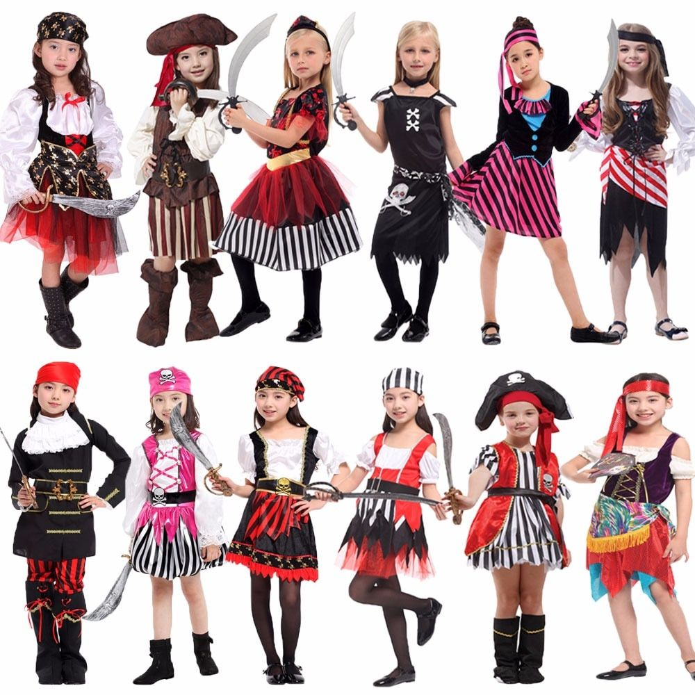 Halloween Cosplay Girls Pirate Costumes Child Carnival Party Outfit Fancy Dress
