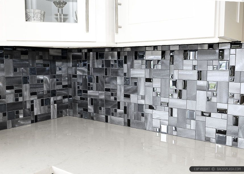 Modern Mosaic Tile Backsplash Metal And Glass Tile  Black Glass Aluminum Metal Mixed Modern .