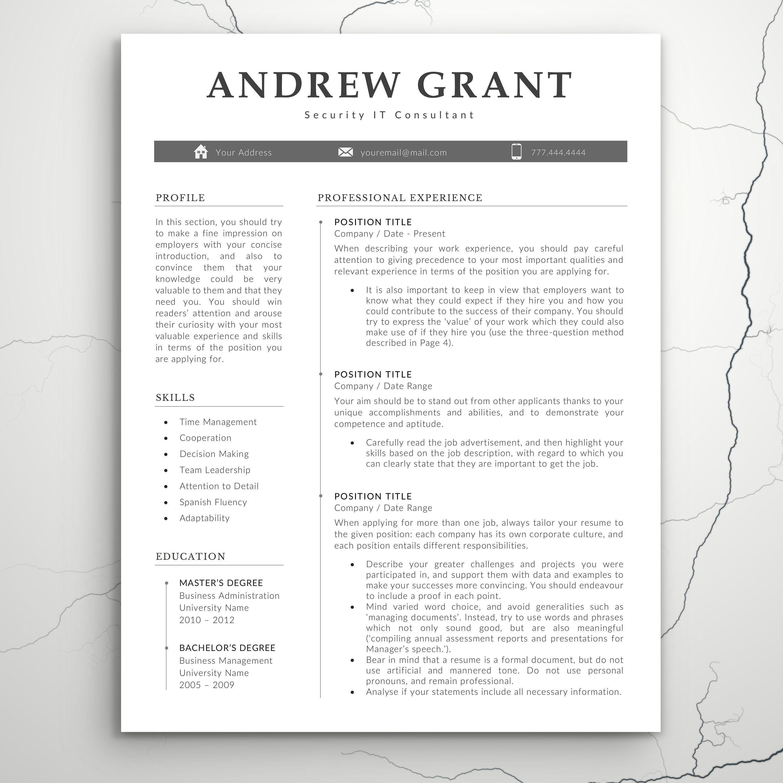 Modern Resume Template For Word Professional CV Design