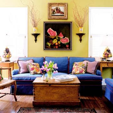 Best Like The Colors Especially Blue Couch Yellow Walls 640 x 480