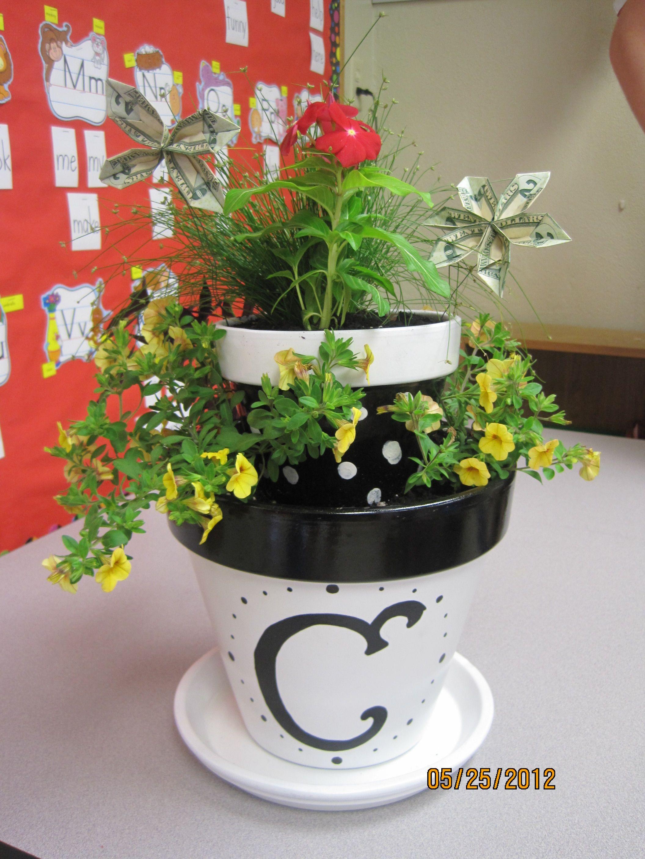 Teacher Flower Pots With Their Initials The Top Pot Has The Finger