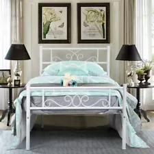 Twin Size Beds And Bed Frames For Sale Ebay White Metal Bed Frame Twin Size Bed Frame Bed Frame Mattress