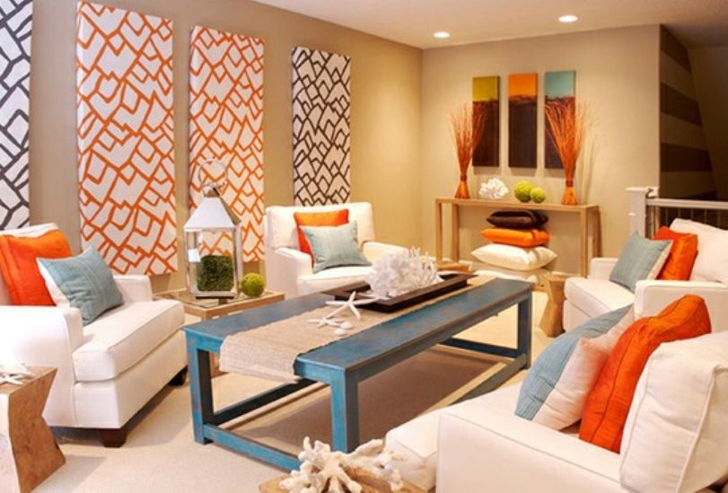 bright colors for living room. Colorful Coastal Living Room at Awesome Design Ideas  I like the tan walls with blue and orange accents Might also work yellow Rustic living room Dark furniture vs white For