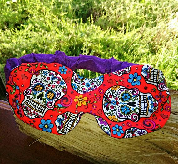 red sleep mask day of the dead handmade sugar skull eye mask