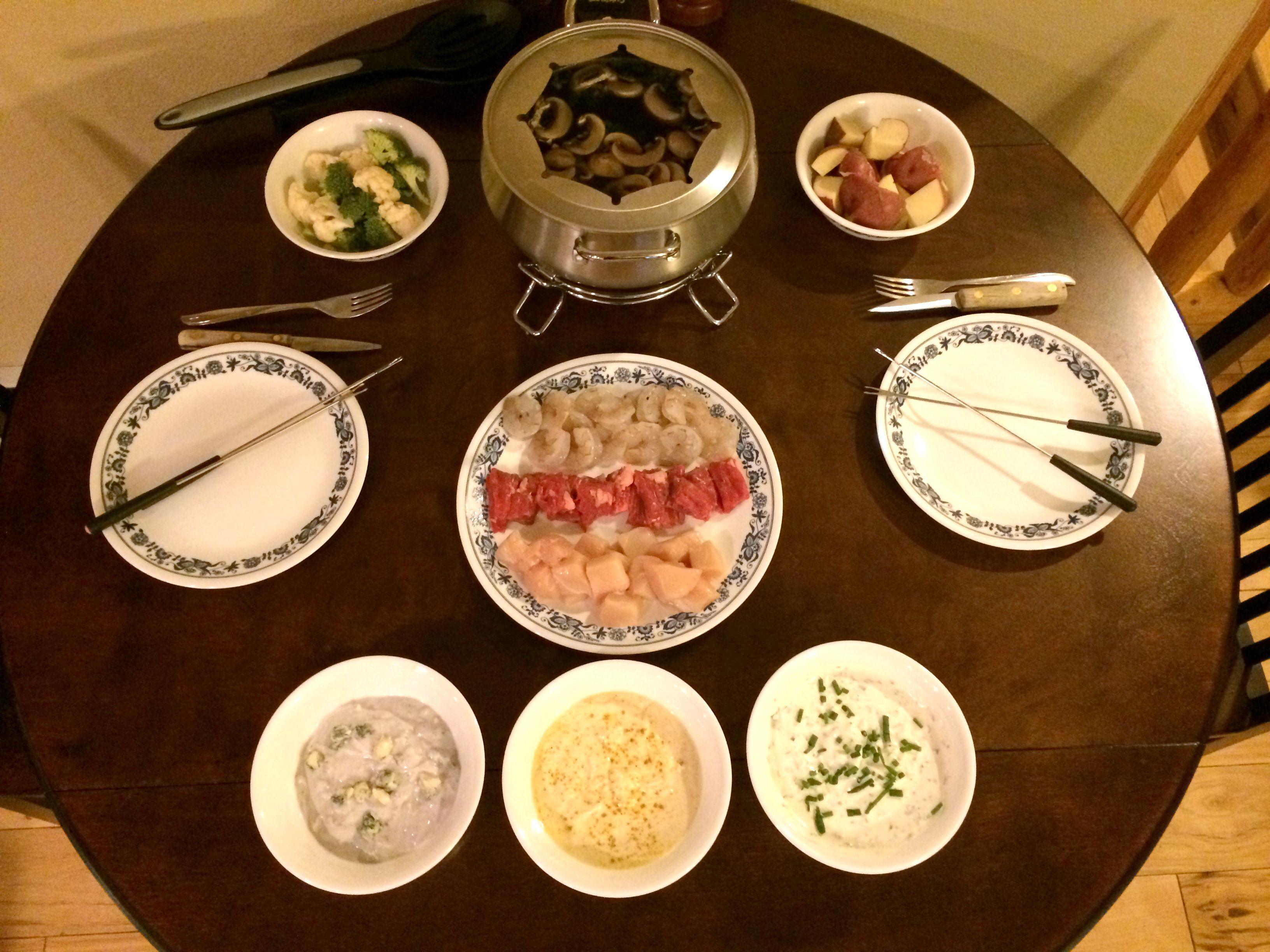 Fondue Cooking Broth With Meats Veggies Dipping Sauces Gf Recipe Cooking Broth Fondue Recipes Meat Fondue Recipes