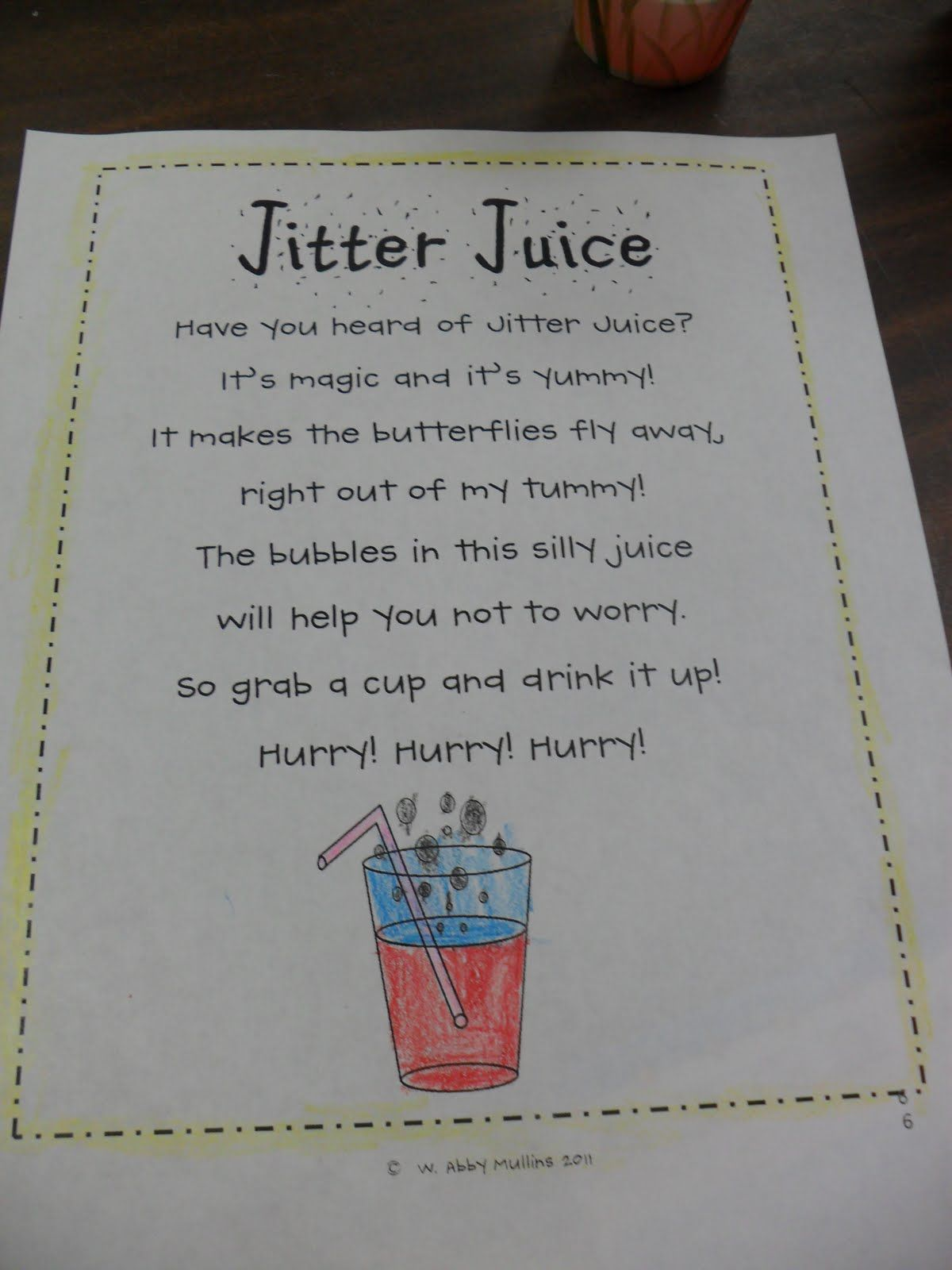 First day jitters poem