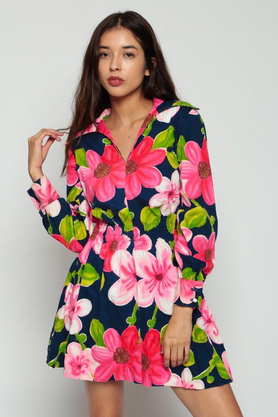 Mod Dress 70s Floral Print Mini TROPICAL Hippie 1970s by ShopExile