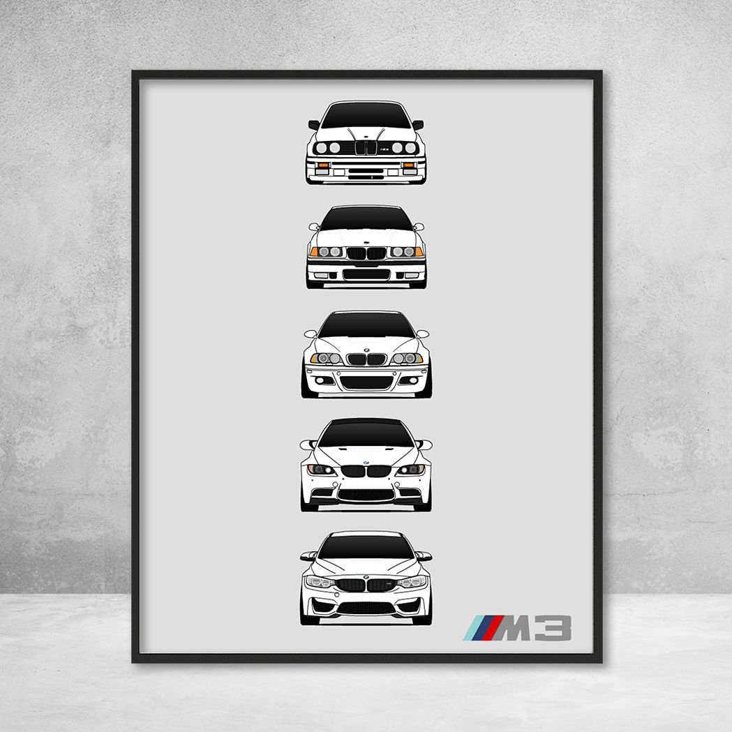 Bmw M3 History Generations Poster White Bmw Car Models Bmw M3 Bmw E46