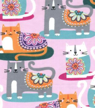 Snuggle Flannel Fabric Cats