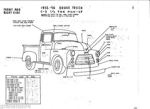 Details about 1955 56 Dodge C-3 1/2 Ton Pickup NOS Body