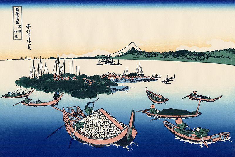 <富嶽三十六景 武陽佃島 :  BUYO TSUKUDAJIMA>  TSUKUDA ISLAND IN MUSASHI PROVINCE  HOKUSAI KATSUSHIKA  1760-1849  Last of Edo Period