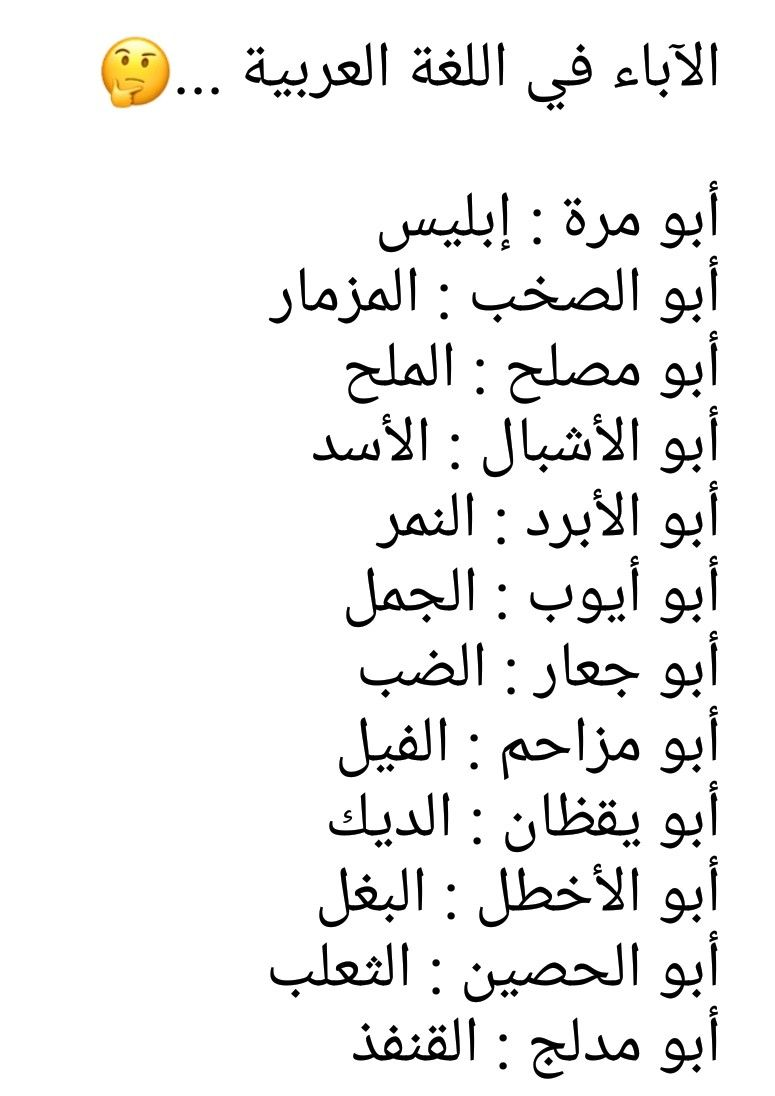 الآباء في اللغة العربية A N S Math Quran Math Equations