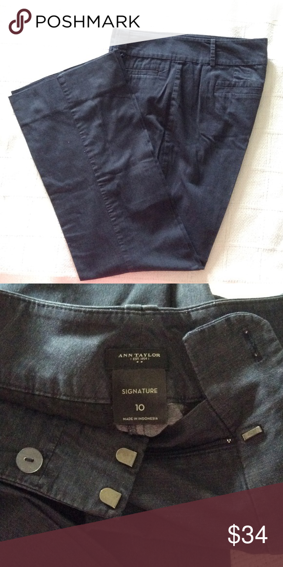 """Pants Like new, 30"""" inseam. They look like denim, but aren't! 95% cotton, 5% spandex. Ann Taylor Pants Wide Leg"""