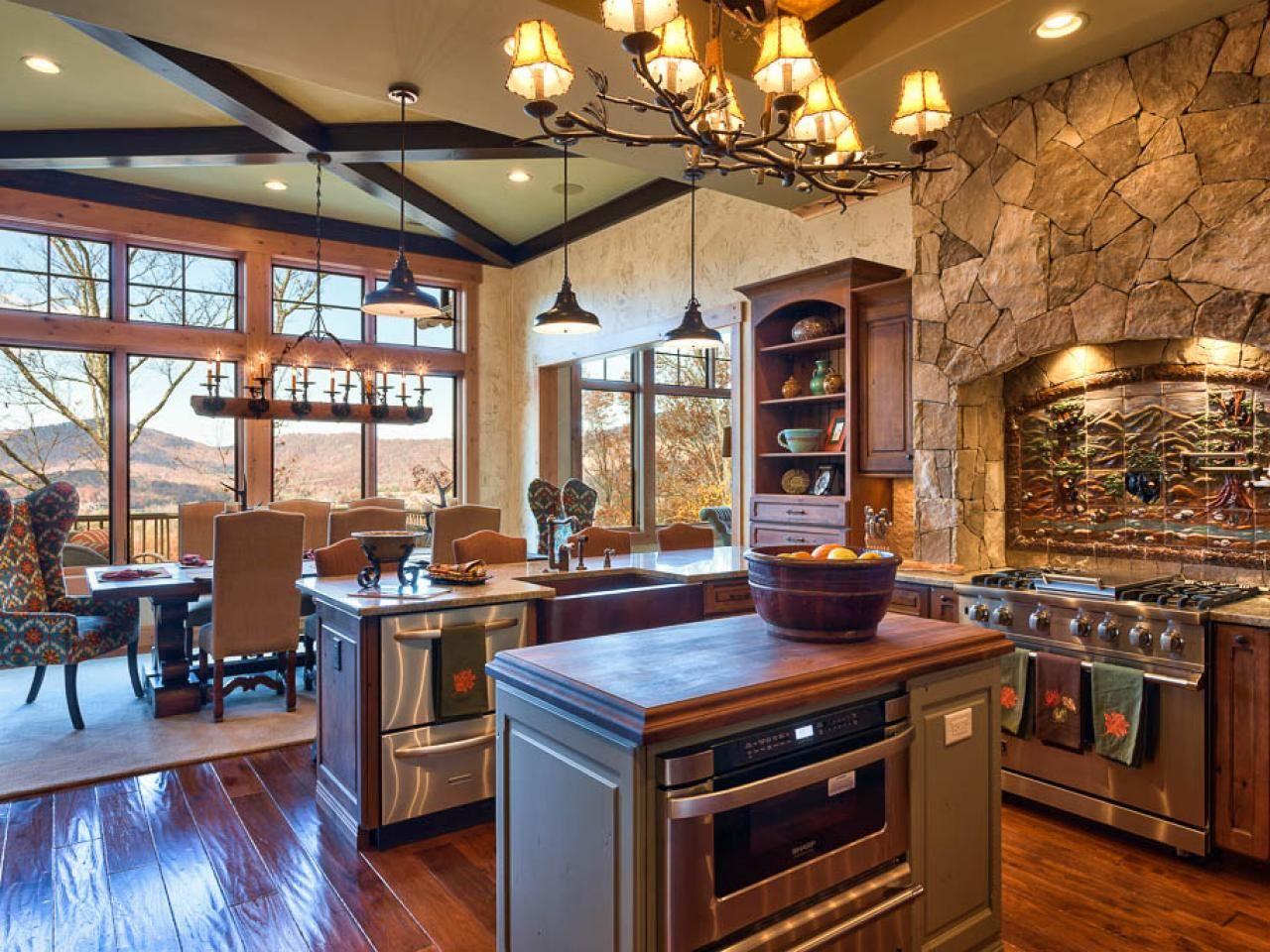 Rustic Stone Kitchen With Country Appeal | Dining area, Kitchens ...
