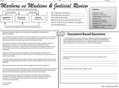 DBQ #Judicial Review #Marbury #Madison Sandoval Lesson US History ...