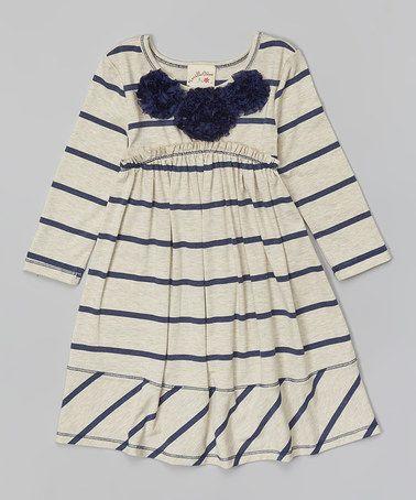 Oatmeal & Navy Stripe Babydoll Dress - Toddler & Girls #zulily #zulilyfinds