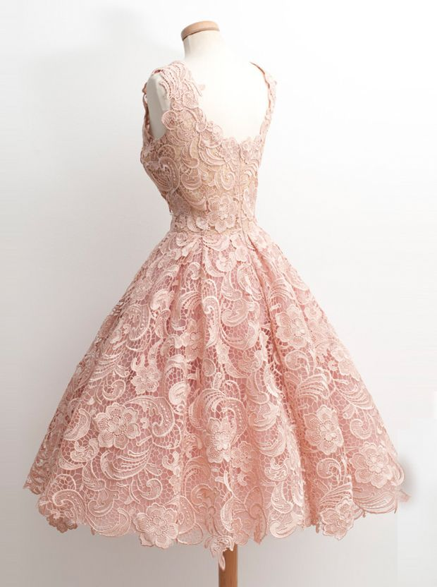 c74dff8af9 Vintage 50s Style Knee-Length Sleeveless Lace Blush Party Prom Dress ...