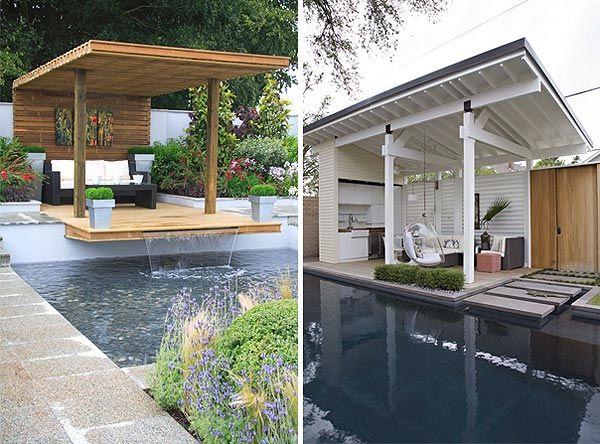 Lean To Style Pool Cabanas Backyard Pool Pool Cabana Cool