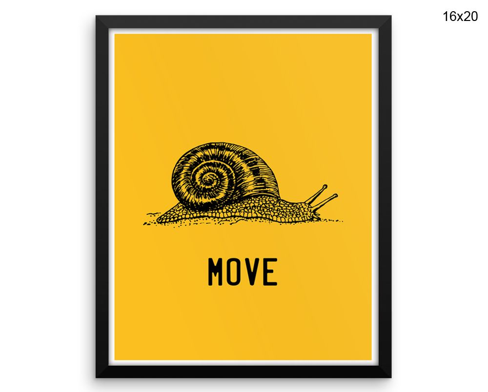 Snail Printed Poster Move Framed Snail Office Art Move Office Print ...