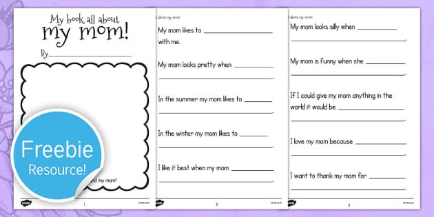A Book About My Mom Template   Usa, Mothers Day, Mom, Writing Template