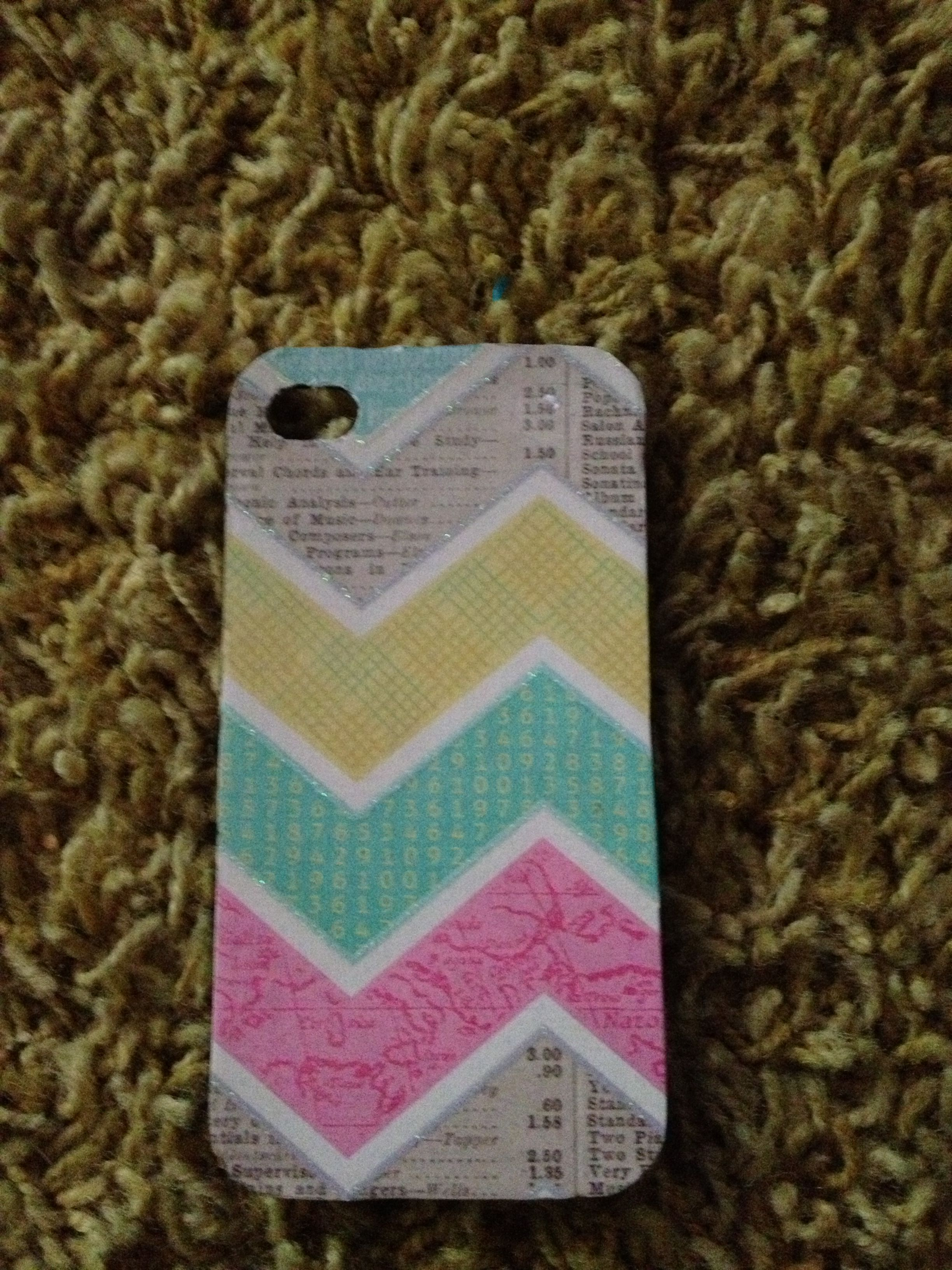 Scrapbook paper case - Took An Old Cell Phone Case And Used Mod Podge And Scrapbook Paper To Spruce It