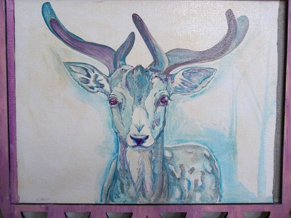 Blue Buck Deer 11x14 Acrylic wildlife Original by dragonflypoppy, $185.00