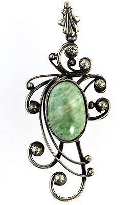 Vintage Art Nouveau Style Swirling Sterling Silver  Jadeite Pendant