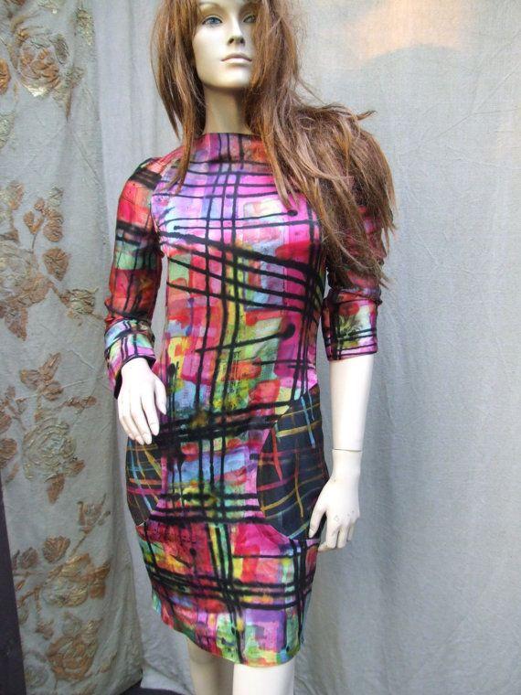 RESERVED for L...TARTAN silk  hand printed dress by JARMOLOWSKA