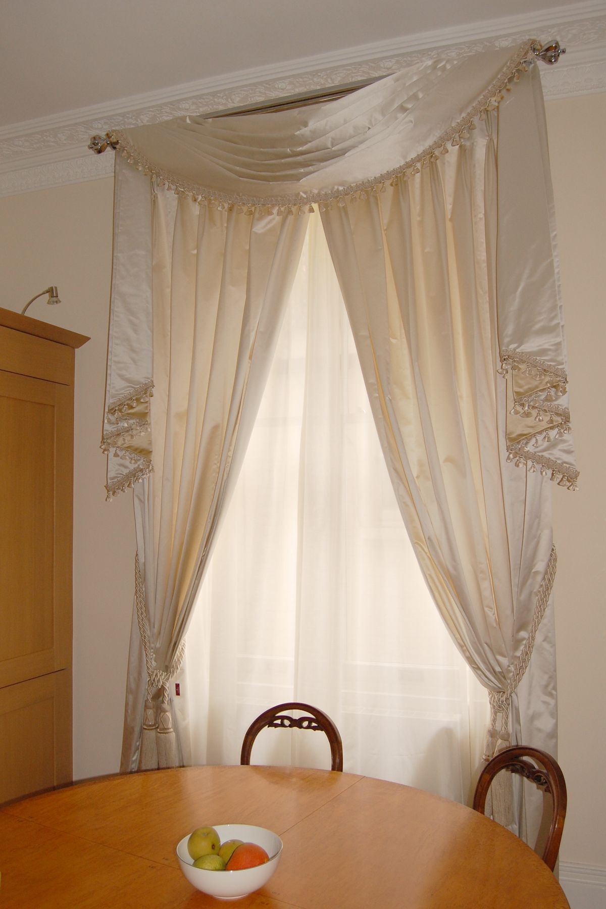 Swag And Tail With Satin Curtains Yards Of Style Curtains Swags Tails Curtains With Blinds