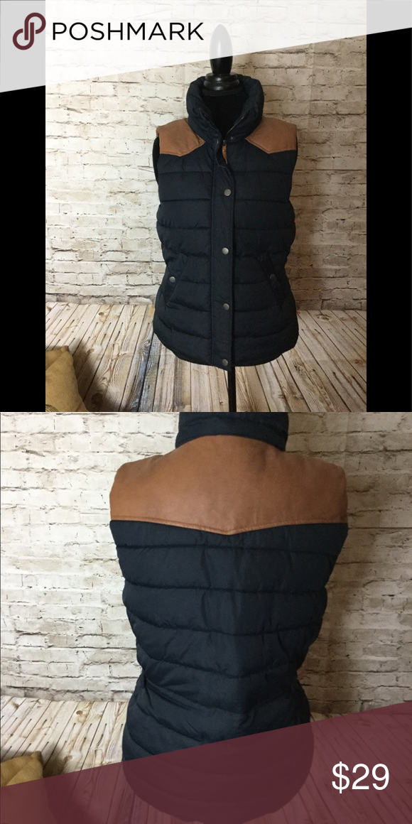 H & M navy with tan leather puffer vest Puffer vest, Tan