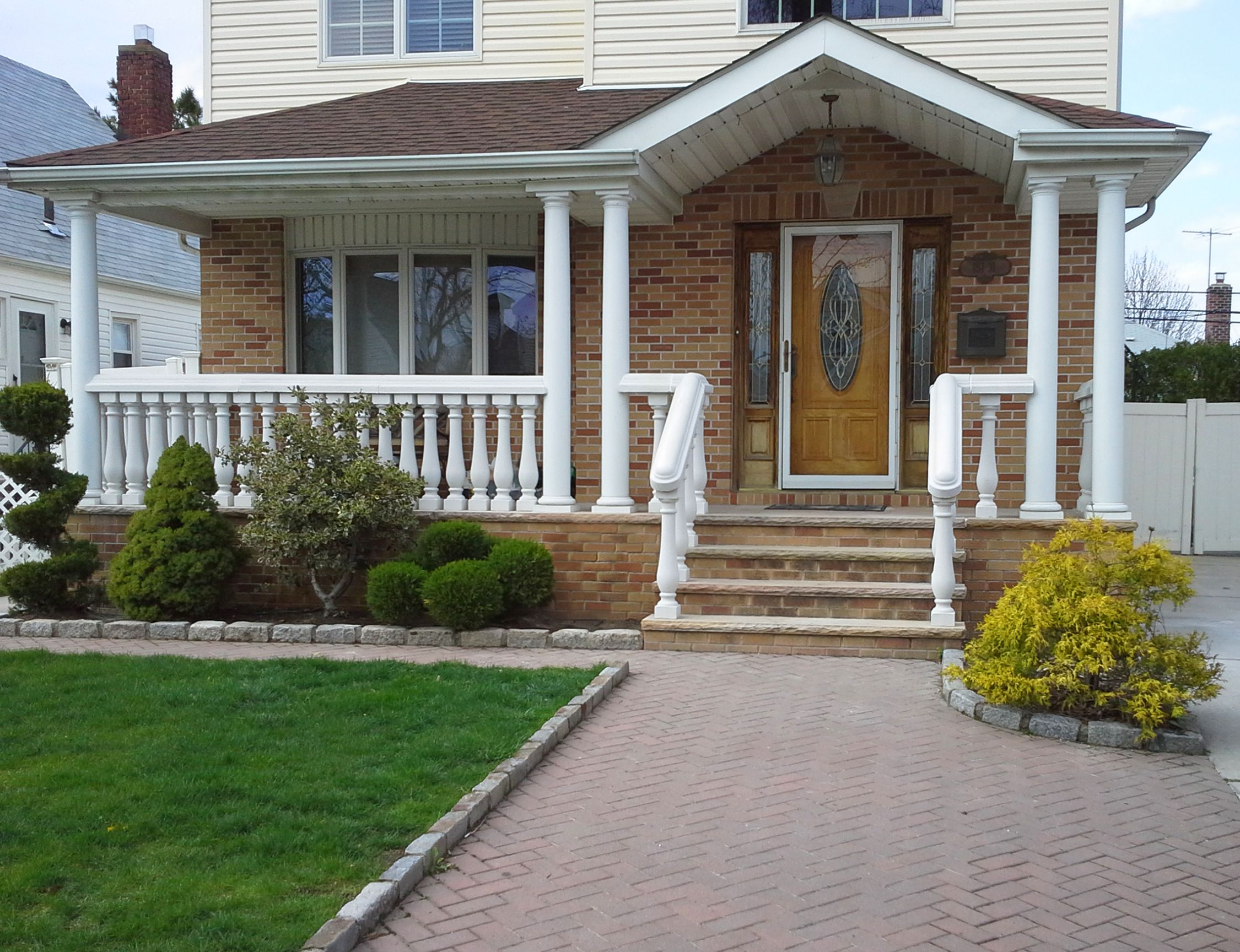 Concrete Balustrade System For Front Porch And Entrance Of Home Www Coralcast Com Porch Balusters Front Porch Steps Victorian Porch