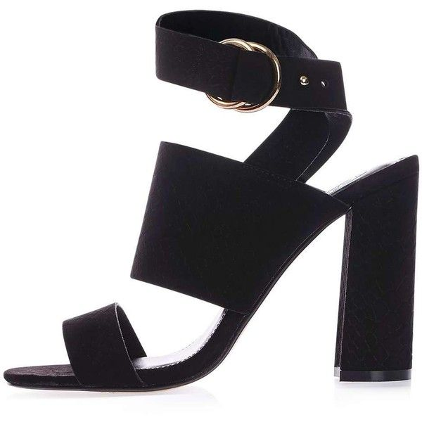 TopShop Monica Block Heel Sandals ($37) ❤ liked on Polyvore featuring shoes, sandals, black shoes, heeled sandals, color block sandals, black high heel shoes and topshop shoes